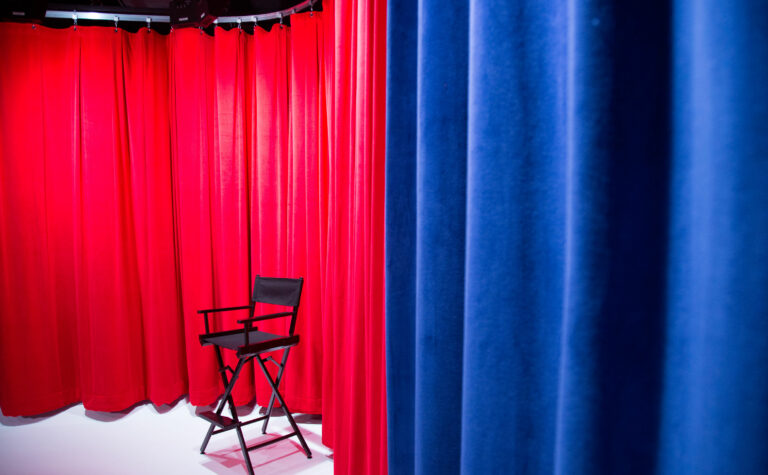 Red and Blue Curtain